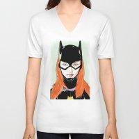 batgirl V-neck T-shirts featuring Batgirl by Matthew Bartlett