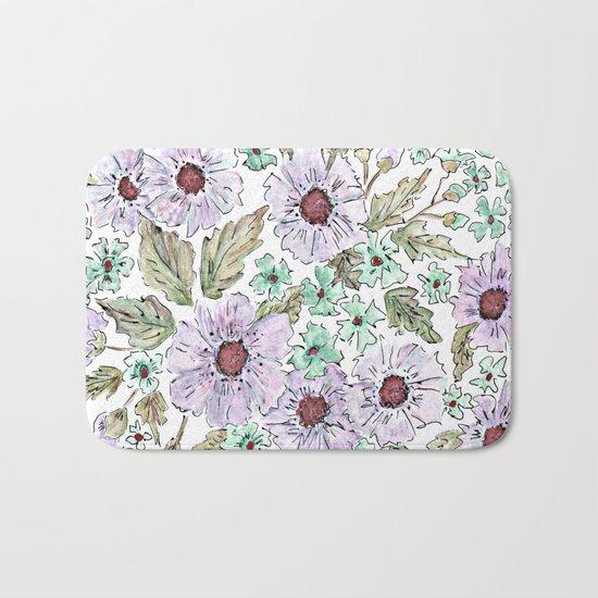 Colorful floral pattern . Beige background . Bath Mat