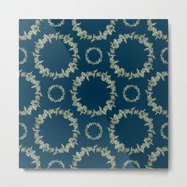 Eucalyptus Patterns with Navy Blue Background Realistic Botanic Patterns Organic & Geometric Pattern Metal Print