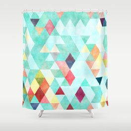 Modern abstract pink aqua turquoise watercolor geometrical Shower Curtain