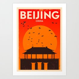 Beijing City Retro Poster Art Print