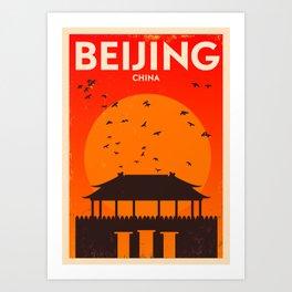 Beijing City Retro Poster Art Print