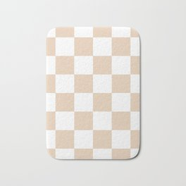 Large Checkered - White and Pastel Brown Bath Mat