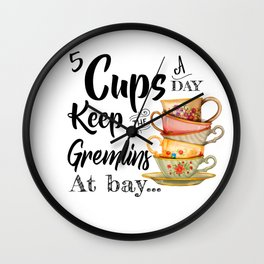 5 Cups A Day Wall Clock