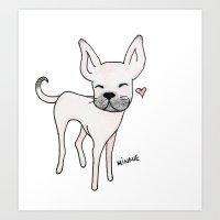 minnie Art Prints featuring Minnie by Daynasdoodleydoos