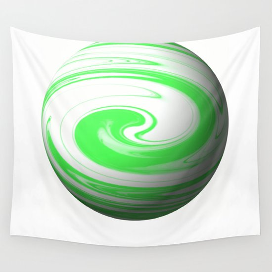 Lime Green & Milky White Sphere Wall Tapestry