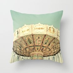 Fair Ride in Aqua Throw Pillow