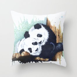 The Panda Couple Throw Pillow