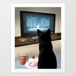 Watching TV Art Print