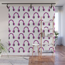 Pink Headphones Wall Mural