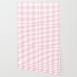 Light Soft Pastel Pink Cowgirl Buffalo Check Plaid Wallpaper