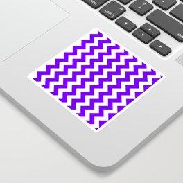 White and Indigo Violet Vertical Zigzags Sticker