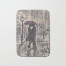 Silouette lovers on rainy street Bath Mat