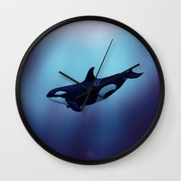 """Lost in Fantasy"" by Amber Marine ~ Orca / Killer Whale Art, (Copyright 2015) Wall Clock"