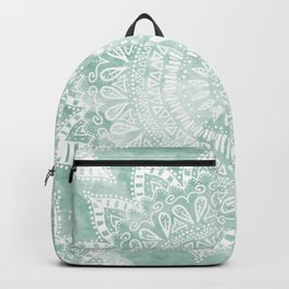 BOHEMIAN FLOWER MANDALA IN TEAL Backpack