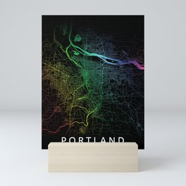 Portland OR USA Rainbow City Map Mini Art Print