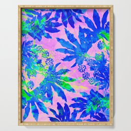 Tropical Adventure - Neon Blue, Pink and Green #tropical #homedecor Serving Tray