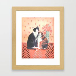Cats with roses Framed Art Print