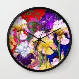 Yellow & Purple Spring Red Iris Garden Wall Clock