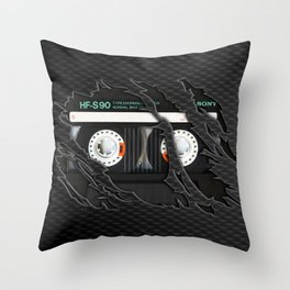 Retro classic vintage Black cassette tape Throw Pillow
