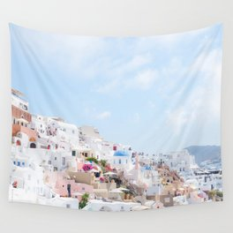 Pastel Colored View on Santorini Greece Wall Tapestry