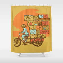 Bike Delivery Shower Curtain
