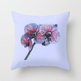 Vibrant stem of orchids on blue Throw Pillow