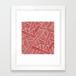 Abstract Navy Red & White Lines and Triangles Pattern Framed Art Print