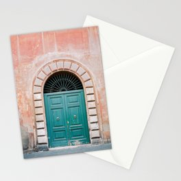 Turquoise Green door in Trastevere, Rome. Travel print Italy - film photography wall art colourful. Stationery Cards
