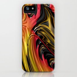 LAVA red, gold & black in flowing abstract 3D streams iPhone Case