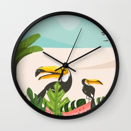 Tropical Bird Beach Wall Clock