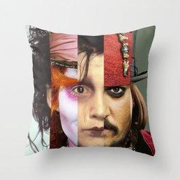 Faces Johnny Depp Throw Pillow