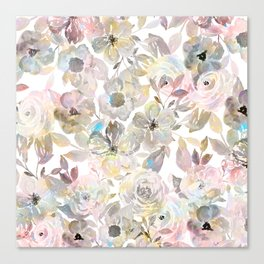 Elegant whimsical grey watercolor roses Canvas Print
