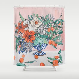 California Summer Bouquet - Oranges and Lily Blossoms in Blue and White Urn Shower Curtain
