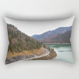 german alps road lake trees forrest drone aerial shot Rectangular Pillow