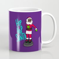 hip hop Mugs featuring Hip Hop Santa by Chelsea Herrick