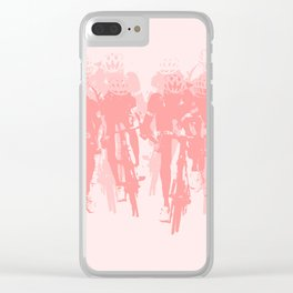 Cyclists in the sprint pink Clear iPhone Case