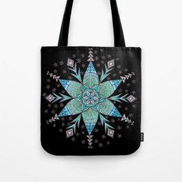 Snowflake Mandala (on black) Tote Bag
