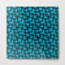 A chaotic mosaic of convex squares with blue intersecting bright rectangles and highlights. Metal Print