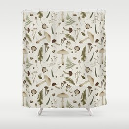 Mushroom pattern 1 white Shower Curtain