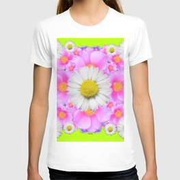 Chartreuse Green Color Shasta Daisies & Rose Pattern T-shirt