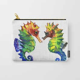 Seahorses, two animals rainbow colored art Carry-All Pouch