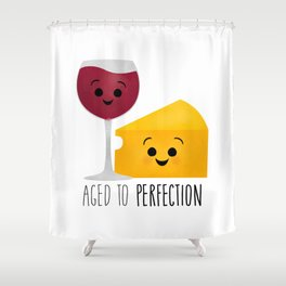 Aged To Perfection - Wine & Cheese Shower Curtain