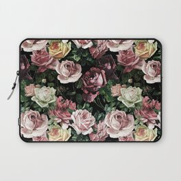 Vintage & Shabby chic - dark retro floral roses pattern Laptop Sleeve