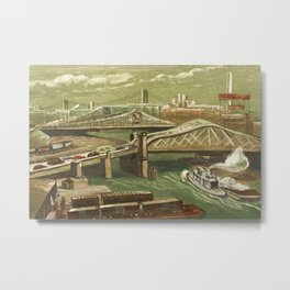 African American Masterpiece 'Harlem River Bridges' by Elizabeth Olds Metal Print