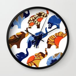 Vintage Blue & Brown Floral Elephants Wall Clock