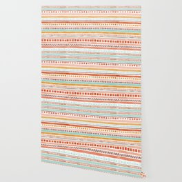 Boho Stripes - Watercolour pattern in rusts, turquoise & mustard. Nursery print Wallpaper
