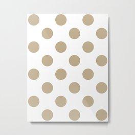 Large Polka Dots - Khaki Brown on White Metal Print