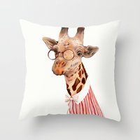giraffe Throw Pillows featuring Giraffe by Animal Crew