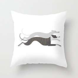 Flying Whippets Throw Pillow